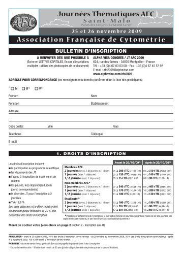 Bulletin d'inscription et de réservation hôtelière - Alpha Visa Congrès