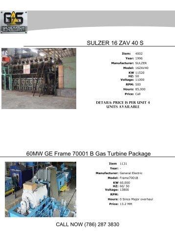 ONE (1) x 18.5 MW GE FRAME 5N DUAL FUEL GAS TURBINE ...