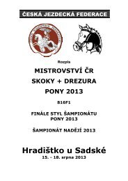 Rozpis MČR Pony S+D 2013 - Oblast Praha