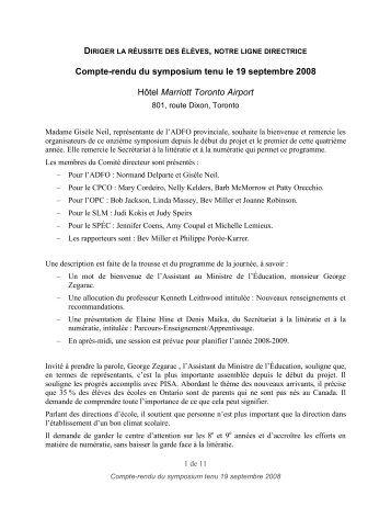 Compte-rendu du symposium tenu le 19 septembre 2008