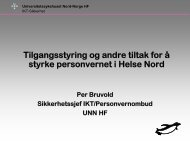 Personvernombud Per Bruvold, Universitetssykehuset Nord-Norge HF