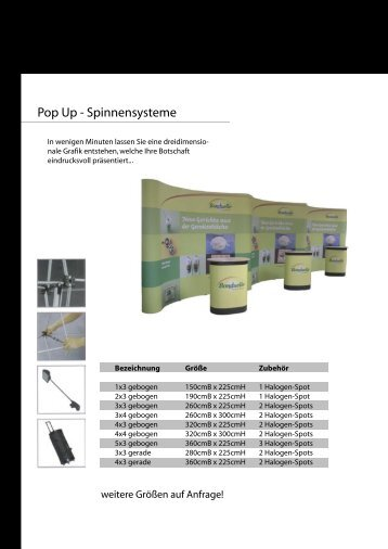 Pop Up - Spinnensysteme