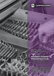 SHORT FORM PROSPECTUS - Capricorn Society