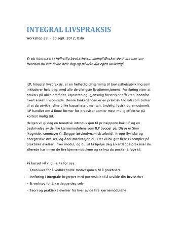 INTEGRAL LIVSPRAKSIS - Christine Arentz Schjetlein