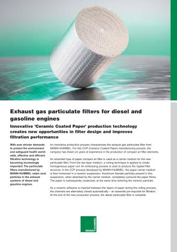 Exhaust gas particulate filters for diesel and gasoline engines