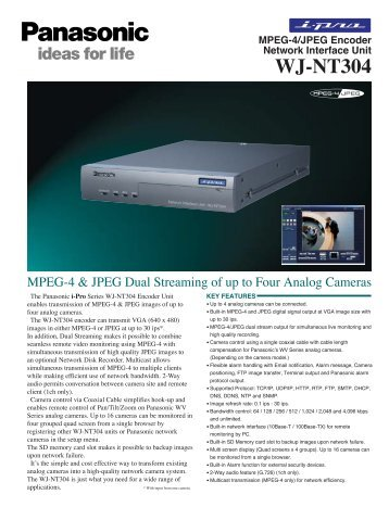 Panasonic WJ-NT304 and NT314 MPEG4 JPEG ... - Moonblink