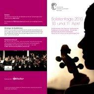Programm der Solistentage 2010 - Hochschule für Musik, Theater ...