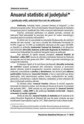 Anuarul Statistic al Judeţului - Revista Română de Statistică