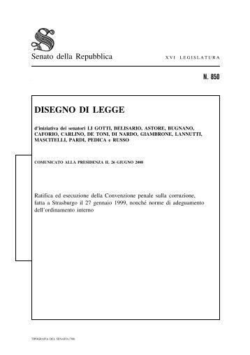Disegno di legge senato della repubblica for Legge della repubblica