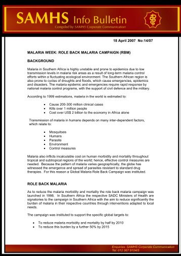 18 April 2007 No:14/07 MALARIA WEEK: ROLE BACK MALARIA ...