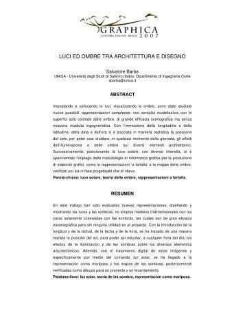 LUCI ED OMBRE TRA ARCHITETTURA E DISEGNO