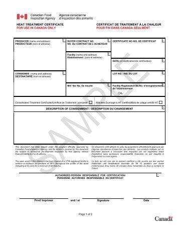 Certificat de traitement à la chaleur pour fin domestique - Agence ...