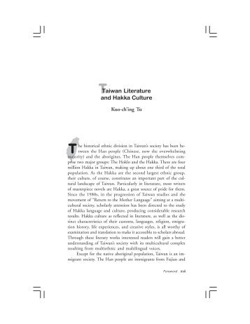 Taiwan Literature and Hakka Culture - Department of East Asian ...
