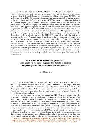 Pourquoi parler de modeles productifs, alors ... - Michel Freyssenet
