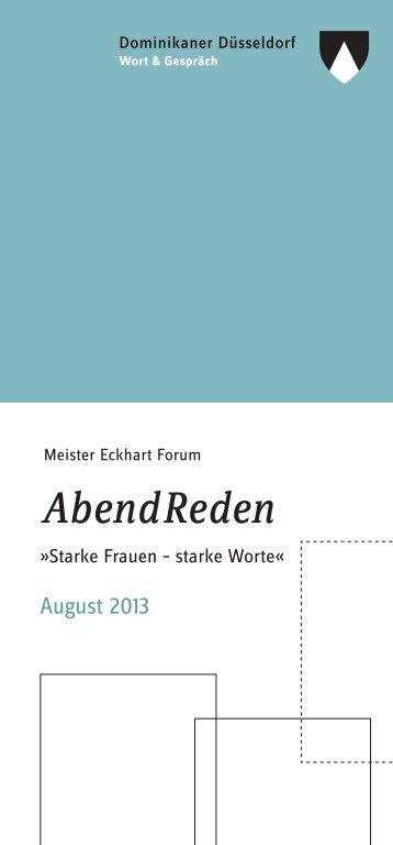 Flyer zu den AbendReden 2013 als PDF - Dominikaner Düsseldorf