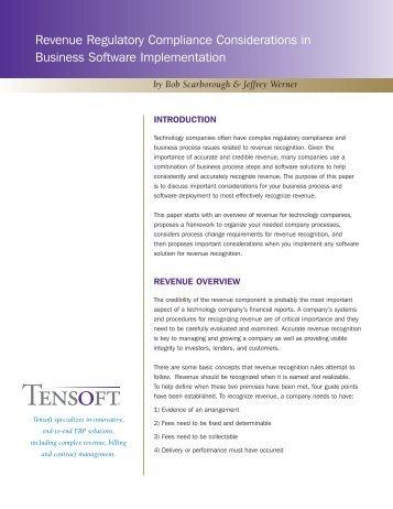Revenue Regulatory Compliance Considerations in ... - Tensoft