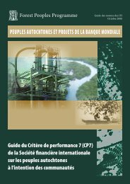 Guide du Critère de performance 7 (CP7) - Forest Peoples Programme