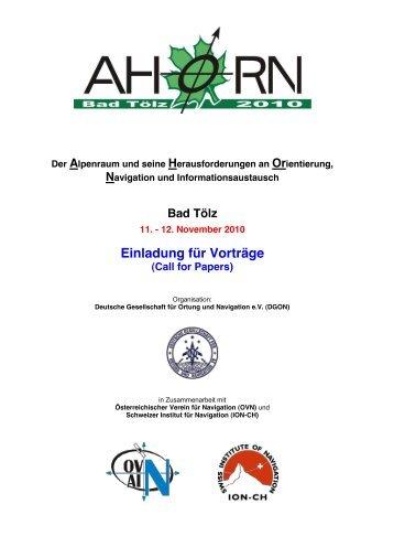 e0d5b49161a AHORN 2010 CfP - Swiss Institute Of Navigation    ION-CH