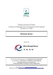 China-Europa Forum - Women - WS21 Workshop report - FGF