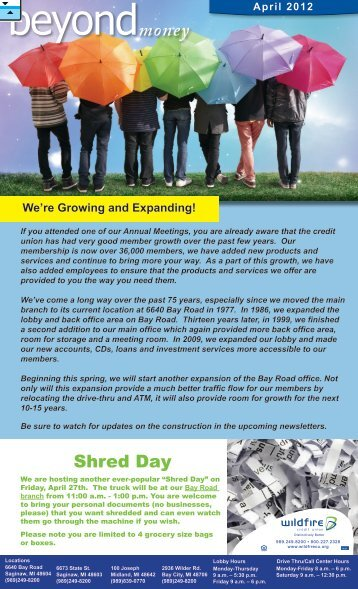 April 2012-Youth Week, Shred Day - Wildfire Credit Union