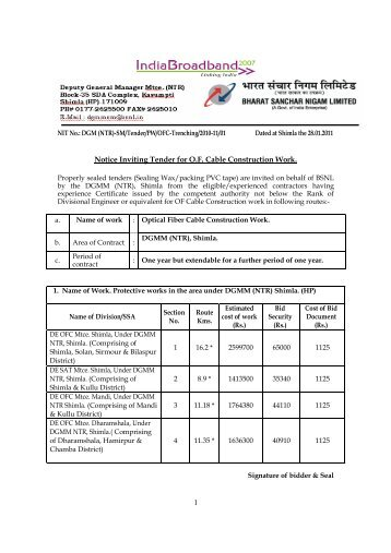1 Notice Inviting Tender for O.F. Cable Construction Work. - Imimg