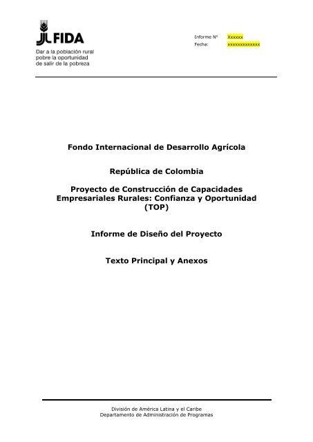 Documento De Diseño International Fund For Agricultural