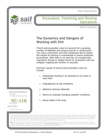 Excavation, Trenching and Shoring Operations - SAIF Corporation
