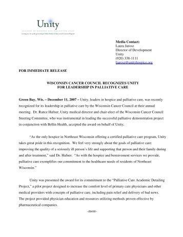 Media Contact: Laura Jarosz Director of Development Unity (920 ...
