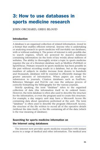 How to use databases in sports medicine research - Dr John Orchard