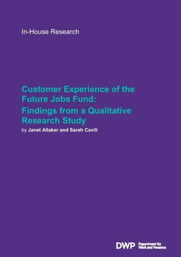 Customer Experience of the Future Jobs Fund - Digital Education ...