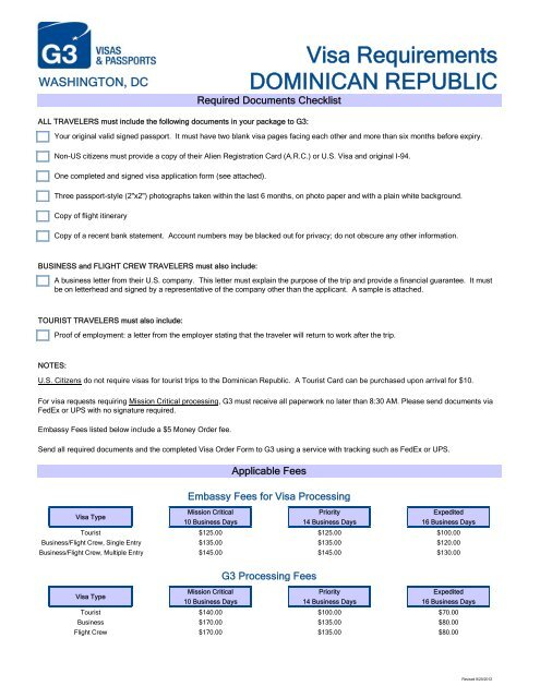 Visa Requirements Dominican Republic G3 Visas Passports