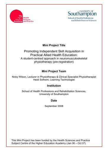 Mini Project Team - Health Sciences and Practice Subject Centre ...
