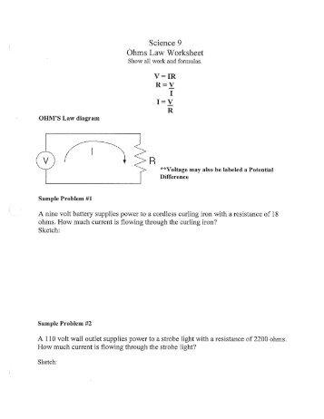 100 ohms law practice worksheet graphing ohm u0027s law current vs potential difference. Black Bedroom Furniture Sets. Home Design Ideas