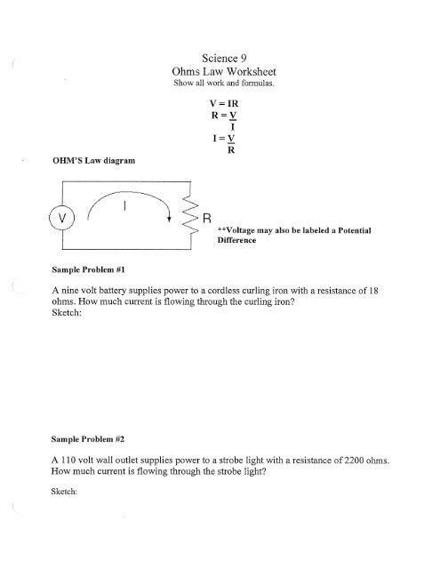 Ohms Law Worksheet.pdf - clhs9