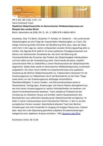 HR 2.342; NR 2.325, 2.331, 3.5 Hans-Ferdinand Tosch Staatliche ...
