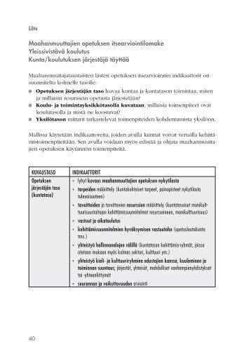 Maahanmuuttajien opetuksen itsearviointilomake ... - Edu.fi