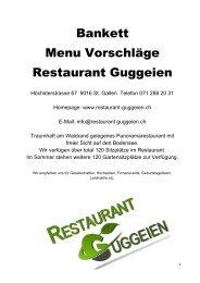 Bankett Menu Vorschläge Restaurant Guggeien