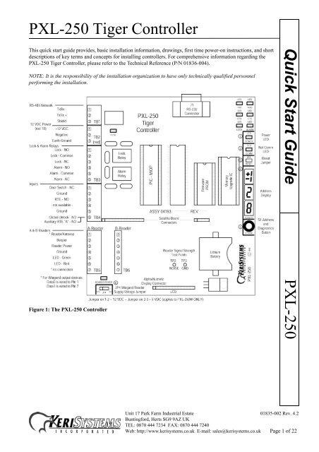 [SCHEMATICS_48ZD]  PXL-250 Tiger Controller PXL-250 Quick Start Guide - Keri Systems | Keri Access Wiring Diagram |  | Yumpu