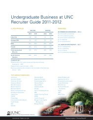 Undergraduate Business at UNC Recruiter Guide 2011-2012
