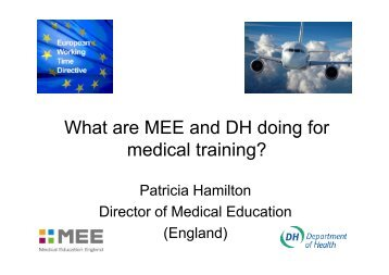 What are MEE and DH doing for medical training? - Oxford Deanery