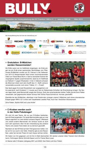Bully Newsletter März 2012 - zum SC Frankfurt 1880