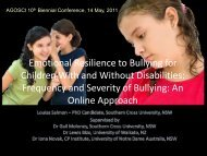 Emotional Resilience to Bullying for Children with and ... - agosci