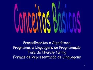 Procedimentos e Algorítmos Programas e Linguagens de ...