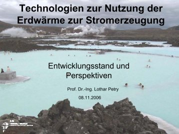 Technologien zur Nutzung der Erdwärme zur Stromerzeugung