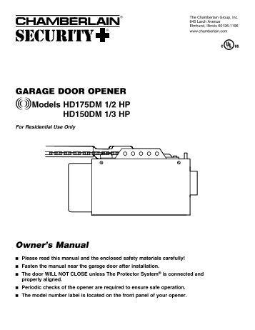 liftmaster garage door opener manual 1 3 hp