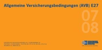 Allgemeine Versicherungsbedingungen (AVB) E27 - Weltjugendtag.ch