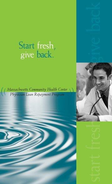 give back startfresh - Massachusetts League of Community Health ...