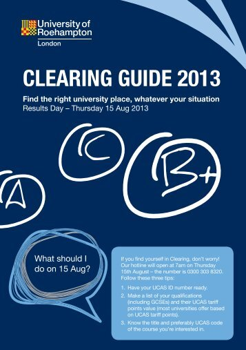 Download our Clearing Mini-Guide - PDF - Roehampton