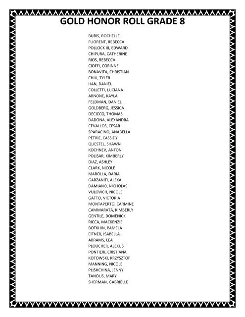 GOLD HONOR ROLL GRADE 8 - Is34.org
