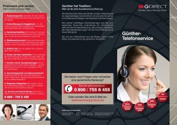 Folder Günther-Telefonservice - Günther Direct Services Gmbh